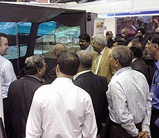 Mr Shri Vinay Kumar Singh, Chairman Cum Managing Director Northern Coalfields Limited operating the training simulator