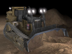 Simulated CAT D11T Dozer model