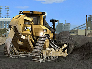 Dozer stockpiling simulation graphics