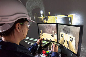 Advanced underground loader simulator complete with RCT ControlMaster® CM2000D line-of-sight remote control.