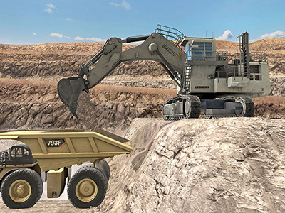Liebherr R9400 Dumping Training