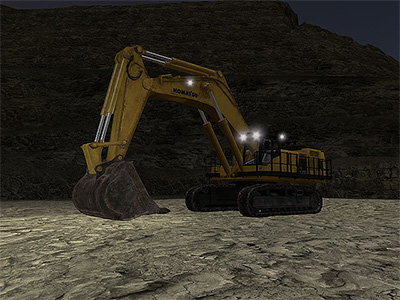 Komatsu PC1250-8 Operating at night Training