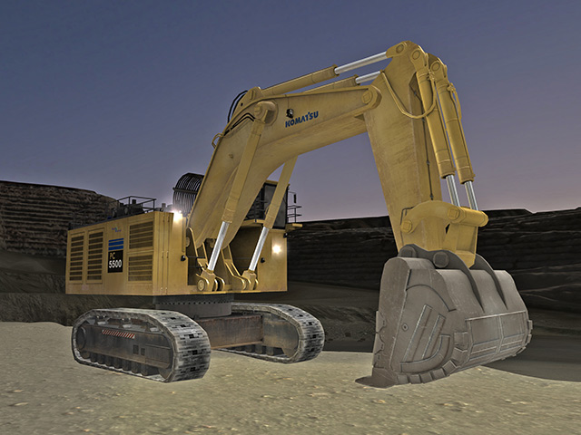 Komatsu PC5500-6 Operating at Night Training