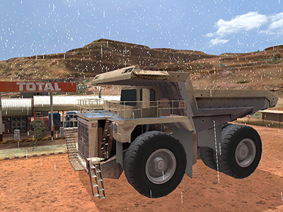 Cat (Bucyrus) MT4400 Adverse Weather  Training (shown on Custom Mine Site)