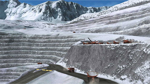 Simulating snowy conditions in the Andes. Chilean copper mine.